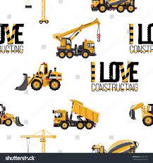 Seamless Pattern Tractor Backhoe Loader Bulldozer Stock Vector ...