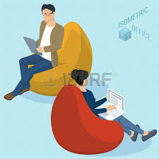 Set Of Isometric 3d Flat Design Vector People Sitting At Bean Bag Chairs Different Characters