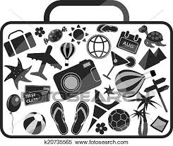 Clipart Of Black And White Luggage Composed From Different Travel