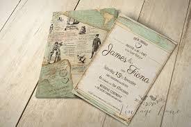 Vintage Style Travel Theme Wedding Invitation Cork Ireland VintageLane Preview