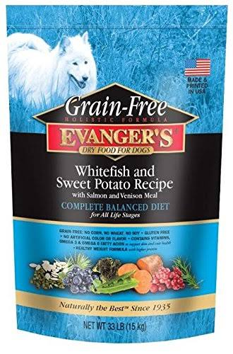 Evanger's Grain Free Dog Food Dry Whitefish Sweet Potato 33 lb