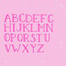 Doodle Colorful Alphabet Vector Simple Hand Drawn Letters Thin Stroked Letterswith Serifs Decorative