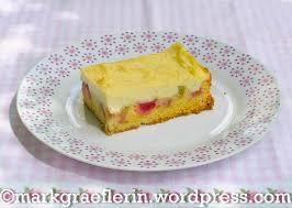 rhabarberkuchen mit vanillepudding schmand creme lebensart