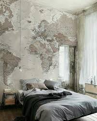 Bedroom Decor For Travelers Or Travel Enthusiastics Map Wallpaper With Muted Tones