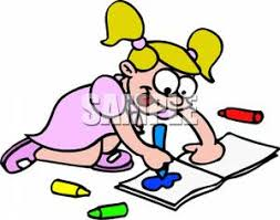 Little Girl Coloring With Crayons
