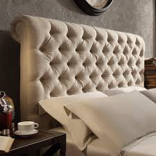 Wayfair Metal Queen Headboards by Tribecca Home Knightsbridge Beige Linen Rolled Top Tufted