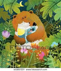 Clipart Of Mother Bear Reading Book To Cub Baby In Forest K53057231