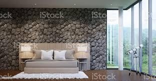 moderner luxus schlafzimmer dekorieren wände mit naturstein stockfoto und mehr bilder architektur
