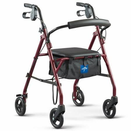 Medline Steel Rollator Walker - Burgundy, 350lbs Capacity