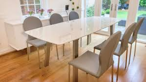 100 White Gloss Extending Dining Table And Chairs Pretty Set Round