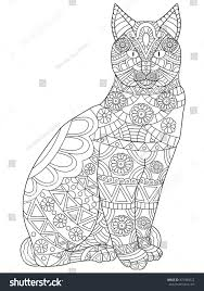 Cat Coloring Pet Adult Vector Illustration Anti Stress For Adults Zentangle Style