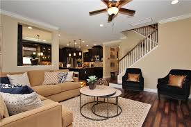 contemporary living room with columns hardwood floors in lutz