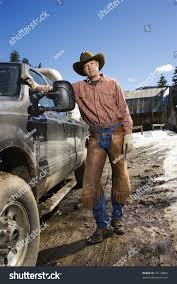 100 Cowboy Truck Man Wearing Hat Leaning Against Stock Photo Edit Now