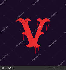 V Letter Logo Vintage Slab Serif Type With Blood Splashes Stock