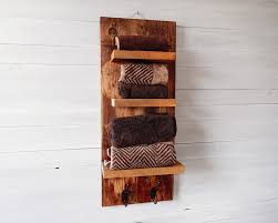 Rustic Bathroom Shelves With Hooks