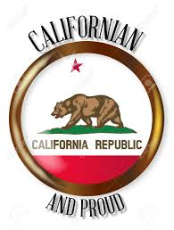California State Flag Button With A Gold Metal Circular Border Over White Background The