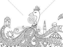 Creative Line Art Design Of Indian National Bird Peacock With Other Symbols And Monuments For Independence