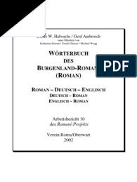 wörterbuch des burgenland romani englisch
