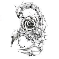 Girly Scorpion With Rose Tattoo Design