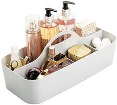 mdesign badezimmer korb mit 11 fächern organizer dusche und bad große aufbewahrungsbox mit griff für duschgel shoo rasierer grau