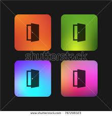 Open Exit Door Four Color Material Stock Vector