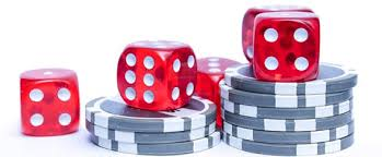Dice On A Short Stack Of Poker Chips