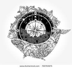 Whale And Compass Tattoo T Shirt Design Antique Floral