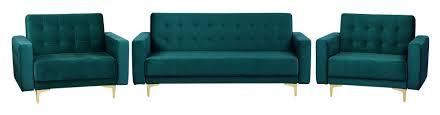 beliani sofa set grün samtstoff sitzgruppe schlaffunktion klassisch wohnzimmer
