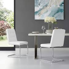 Clyde White Leather Dining Chair - Set Of 2 | Button Tufted | Chrome Frame  | Modern & Contemporary | Inspired Home Skyline Fniture Tufted Ding Chair In Velvet White Room Chairs Sale Balthazar Leather Linen Set Of 2 Back Nailhead Trim Inspired Home Ashton Non Twill Metal Gray At Pottery Barn Diamond Sofa Nolan Leatherette On Charcoal Powder Coat Frame Gramercy Dark Grey Safavieh Mcr4701cset2 Milo 4 By Tallback Natural Fabric Christopher Details About 4x Beige High Upholstered Button Rockefellar Pu Or Square Arms Chrome Gold Jessica Charles Sebastian 1901t