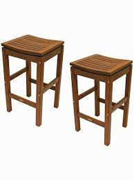 5 Piece Bar Height Patio Dining Set by Outdoor Bar Stools Eucalyptus Wood Bar Height Stools Set Of 2