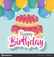 glückwunschkarte zum geburtstag mit kuchen und luftballons