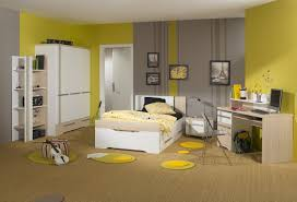 Bedroom Decor Yellow And Grey Wall Colors With Corner White Cupboard Also Desk Computer