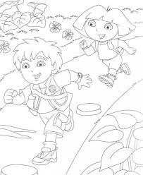 Diego And Dora Running Coloring Pages