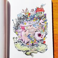 Coloring Book Adult Doodle Invasion Kerby Rosanes 08