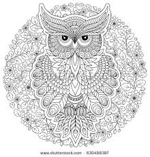 Decorative Cartoon Owl In Zentangle Style Page For Adult Coloring BookHand Drawn Vector