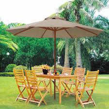 Patio Umbrella Replacement Canopy 8 Ribs by 9 U0027 Ft 8 Ribs Patio Wood Umbrella Wooden Pole Outdoor Sunshade