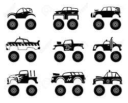 100 Kids Monster Trucks Stock Illustration