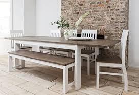 hever esstisch mit 5 stühlen bank in weiß und in dunklem kiefernholz ausziehbar mit 2 x verlängerungsplatten
