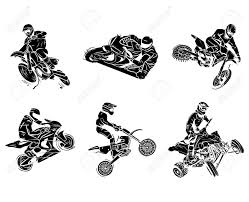Motorbike Tattoo Collection Stock Vector