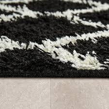 moderne badematte mit rauten design hochflor badteppich in schwarz weiß