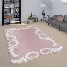 teppich wohnzimmer floral design bordüre kurzflor