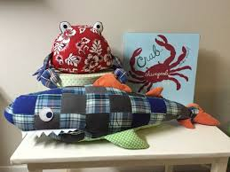 Rare Pottery Barn kids whale and crab pillows and crab a plaque