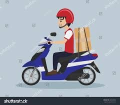 Cartoon Delivery Service Boy Riding Scooter Vector Illustration