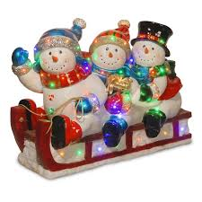 National Tree Company 29 In Pre Lit Fiberglass Snowmen Sled Christmas Decor