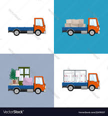 100 Different Trucks Orange Small Trucks With Different Loads Vector Image