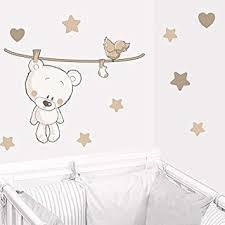 stickers ours chambre bébé juju compagnie sticker ourson teddy beige stickers bébé deco