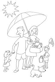 Beach Scenery Coloring Pages Balls Summer Family Free Umbrella