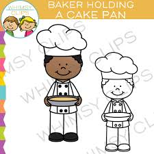 Baker Holding a Cake Pan Clip Art