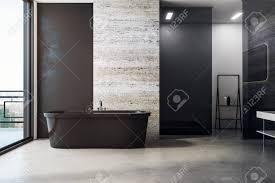 stilvolles badezimmer mit badewanne tageslicht und platz für text an der wand modell 3d rendering
