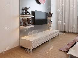 tv regale und ein schrank unter dem fernseher im schlafzimmer 3d übertragen